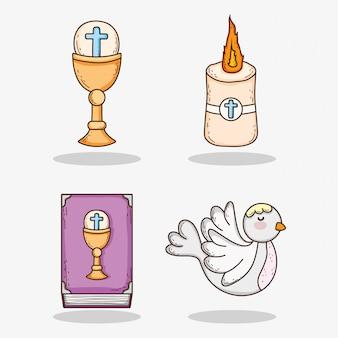 Impostare chaliz con host e candela con bibbia e colomba
