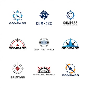 Impostare compas logo e icona illustrazione vettoriale
