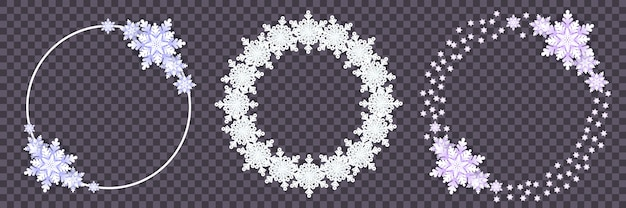 Impostare cornici rotonde fiocchi di neve bianchi con ombra su trasparente. carta tagliata. illustrazione di inverno per decorare per il nuovo anno e il natale.