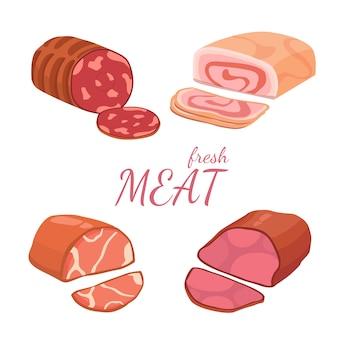 Impostare diversi tipi di carne. illustrazione vettoriale su sfondo bianco