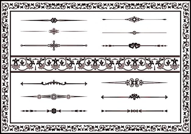 Impostare eleganti elementi floreali di decorazione di colore nero
