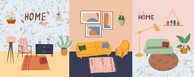 Impostare elementi di interior design. mobili moderni soggiorno. divano, vaso di fiori, cactus, lampada da terra e da tavolo, foto sul muro e altri. stile hygge scandinavo accogliente casa