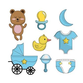Impostare elementi di strumenti baby shower boy