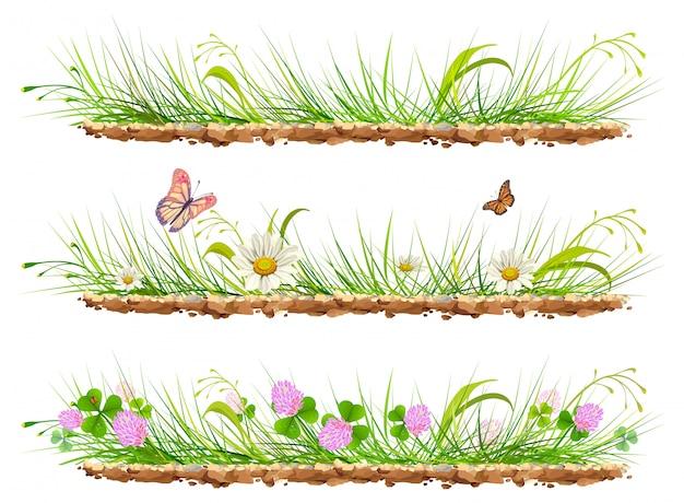 Impostare erba verde sul terreno. erba, fiori, trifoglio e farfalle