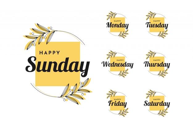 Impostare felice lunedì a felice domenica design vintage