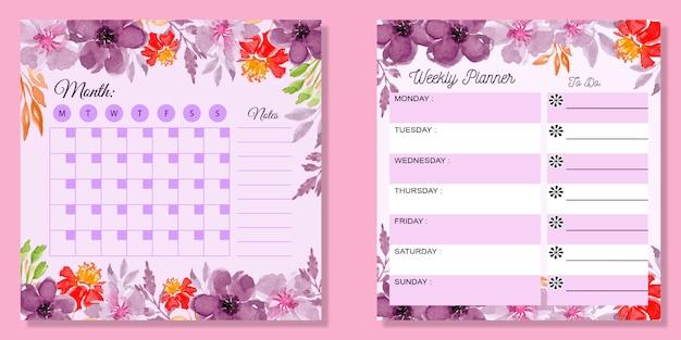 Impostare floreale dell'acquerello pianificatore mensile e settimanale