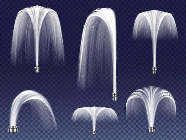 Impostare fontane realistiche di varie forme. grandi e piccoli geyser, getti d'acqua che cadono