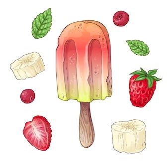 Impostare gelato banana ciliegia lampone.