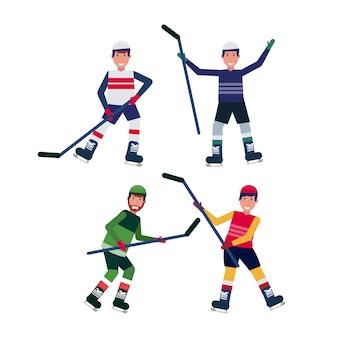 Impostare giocatori di hockey su ghiaccio diverse pose in possesso di bastone pattinaggio obiettivo celebrando personaggio dei cartoni animati maschile piena lunghezza raccolta piatto isolato