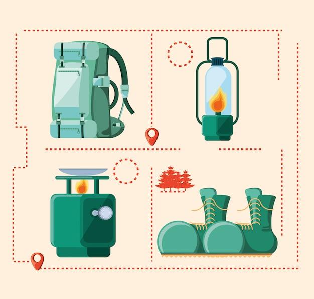 Impostare gli accessori della zona campeggio