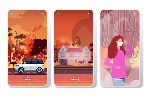 Impostare gli incendi boschivi in australia incendi boschivi che bruciano gli alberi disastro naturale evacuazione concetto intense fiamme arancioni schermate del telefono raccolta mobile app