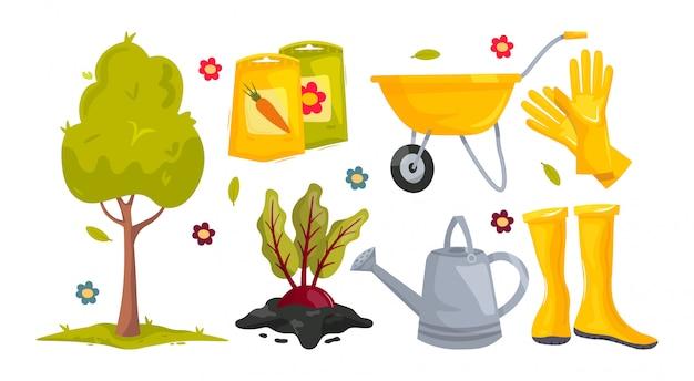 Impostare gli strumenti di giardinaggio dei cartoni animati. albero, semi, barbabietole in terra, carretto da giardino, guanti, stivali, annaffiatoio. attrezzature da lavoro per fattoria o giardino.