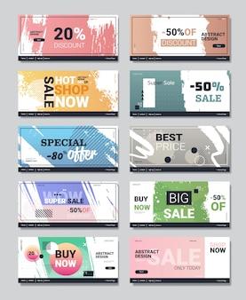 Impostare grandi striscioni vendita offerta speciale promozione campagna pubblicitaria layout manifesti shopping sconto concetto modelli raccolta verticale spazio copia
