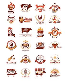 Impostare i segni del grill e del barbecue, adesivi, emblemi