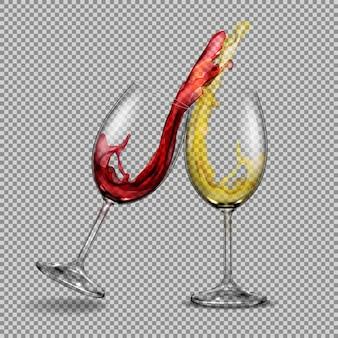 Impostare i vetri trasparenti vettoriali con vino bianco e rosso con uno spruzzo fuori di loro