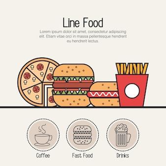 Impostare icone di cibo isolato linea