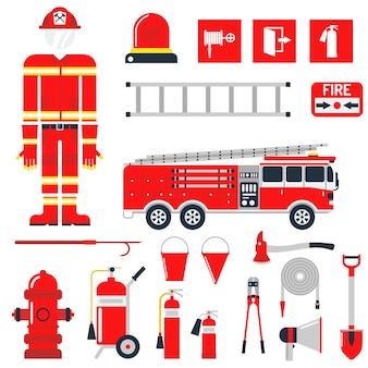 Impostare icone e simboli piatti di sicurezza antincendio pompiere.