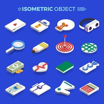 Impostare icone isometriche oggetto 3d concetto di business e tecnologia contenuto. illustrazione design piatto.