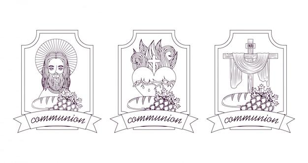 Impostare il cattolicesimo fede gesù cristo comunione disegno a mano etichette