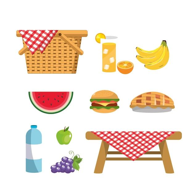 Impostare il cesto con frutta e vino sani