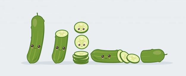 Impostare il cetriolo. kawaii carino cibo sorridente.