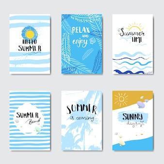 Impostare il contrassegno di disegno tipografico isolato distintivo di spiaggia soleggiata