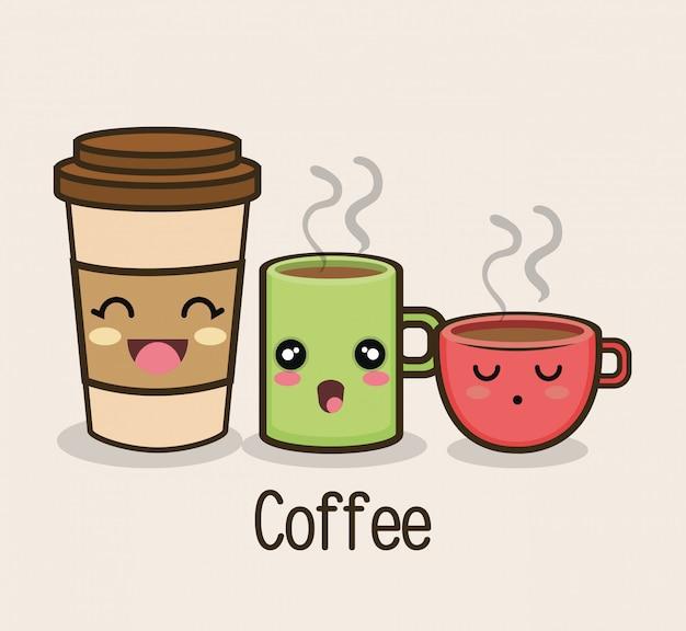 Impostare il disegno del caffè tazza di cartone animato