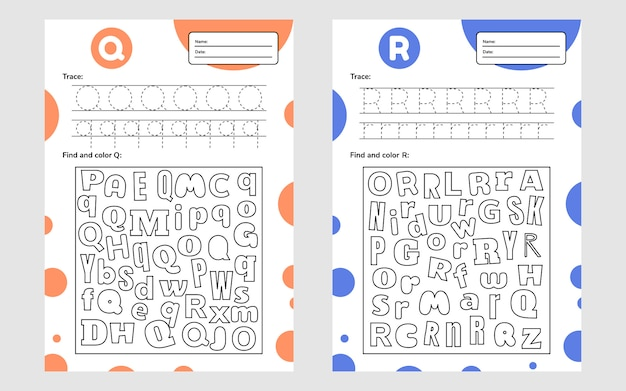 Impostare il foglio di lavoro della lettera di gara a4 per bambini in età prescolare e scolare. gioco per bambini. trova e colora. illustrazione vettoriale.