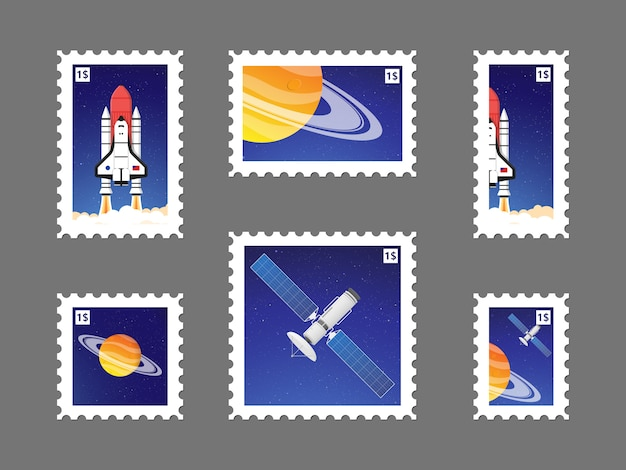 Impostare il francobollo con il pianeta nello spazio e illustrazione satellitare