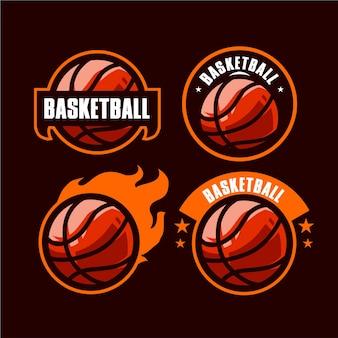 Impostare il logo del basket per modello di squadra sport vettoriale