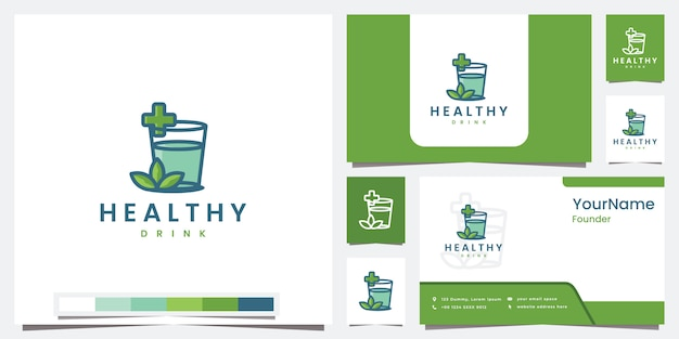 Impostare il modello di bevanda salutare logo