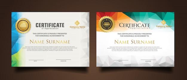 Impostare il modello di certificato con colori poligonali dinamici e futuristici e forme moderne