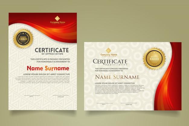 Impostare il modello di certificato moderno con linee di flusso ornamento e sfondo modello moderno.