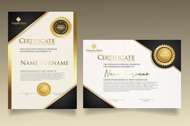 Impostare il modello di certificato verticale e orizzontale con il fondo moderno del modello di struttura elegante e di lusso.