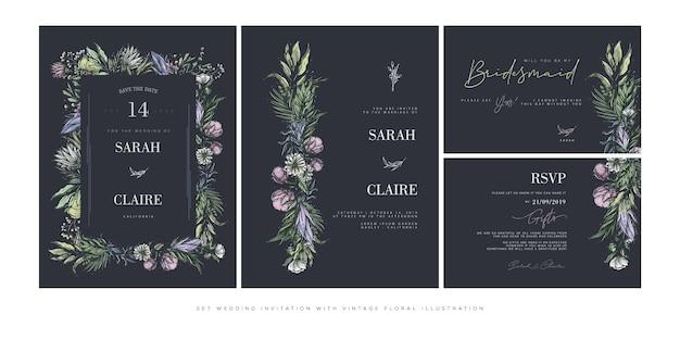 Impostare il modello di invito di nozze con fiori vintage