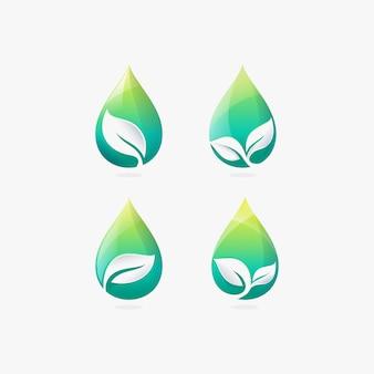 Impostare il modello moderno di progettazione di logo di foglia e goccia d'acqua gradiente