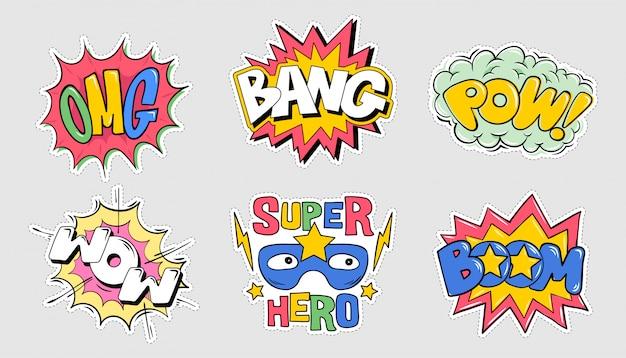 Impostare il pacco di raccolta di emozioni fumetti stile esplosione lettering: omg, boom, bang, pow, wow illustrazione di doodle del fumetto per design tipografia t-shirt vestiti tee poster badge badge adesivo pin patch