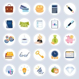 Impostare il piano di raccolta di simboli di concetto di icone diverse business isolato