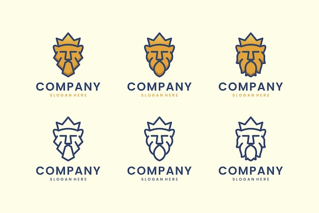 Impostare il re leone logo con ispirazione per il design del logo di concetto di arte di linea di corona