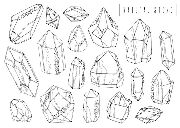 Impostare il set di inchiostro naturale. collezione di cristalli minerali