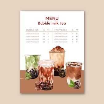 Impostare il tè al latte di bolle di zucchero di canna e il menu matcha, vintage di contenuto dell'annuncio, illustrazione dell'acquerello