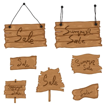 Impostare il vecchio legno firmare in stile retrò dei cartoni animati isolato. festa in spiaggia, saldi, ciao estate