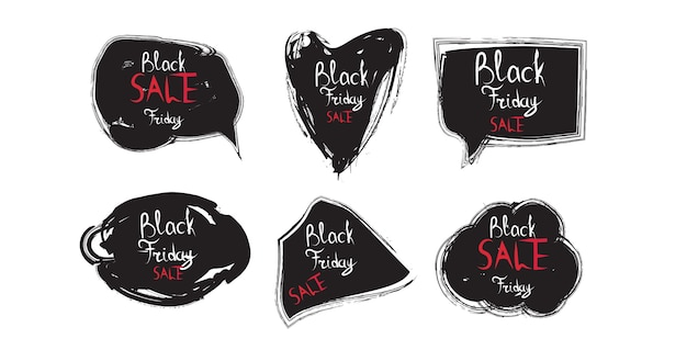 Impostare il venerdì nero adesivi sconto collezione badge vacanza shopping concetto etichetta grande vendita