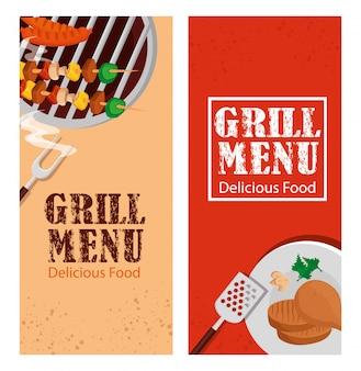 Impostare il volantino del menu grill con cibo delizioso