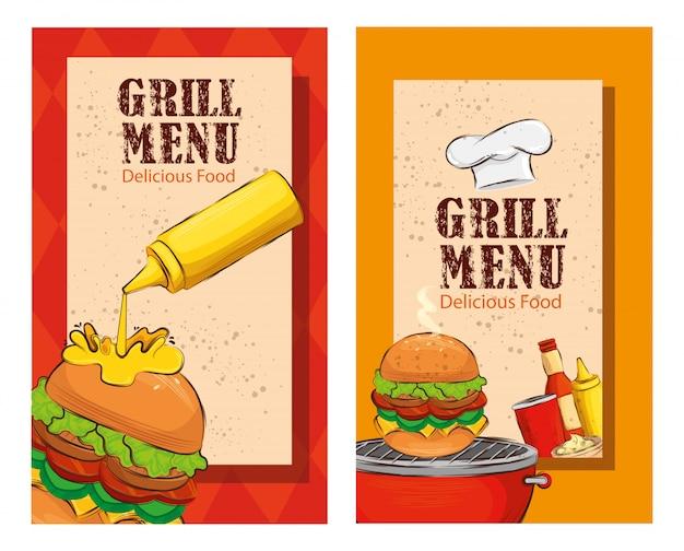 Impostare il volantino del menu grill con deliziosi hamburger