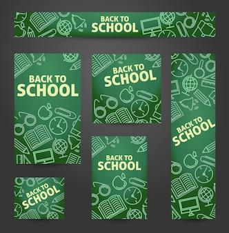 Impostare il web di banner. di nuovo a scuola. simboli su una lavagna.