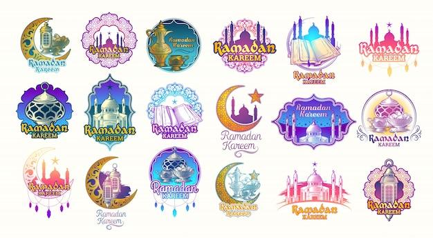 Impostare illustrazioni a colori vettoriali, badge, emblemi per ramadan kareem.