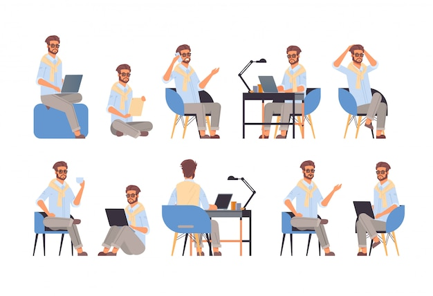 Impostare imprenditore seduto in pose diverse emozioni gesto e concetto di linguaggio del corpo