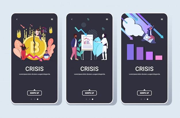 Impostare imprenditori frustrati per la crisi finanziaria crollo della criptovaluta avvio fallimento intelligenza artificiale concetti raccolta a tutta lunghezza telefono schermo mobile app orizzontale