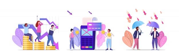 Impostare imprenditori frustrati per la crisi finanziaria rifiutata protezione delle transazioni commerciali pagamento